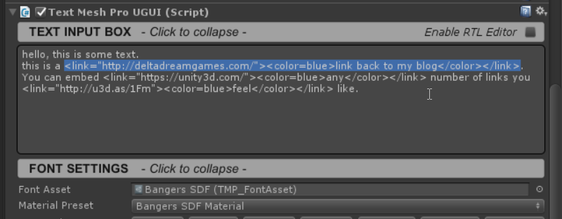 Hyperlinks in Unity UI using Text Mesh Pro – Delta Dream Games